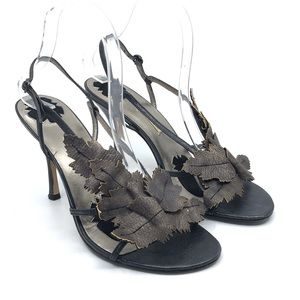 MAX STUDIO BLACK & BRONZE LEAF HIGH HEEL SANDALS